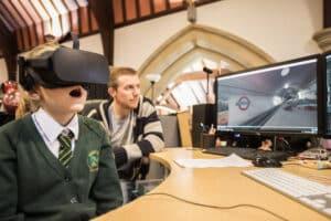 school child watching virtual reality blitz experience
