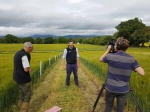 Filming the 360 video - man being filmed in crop land